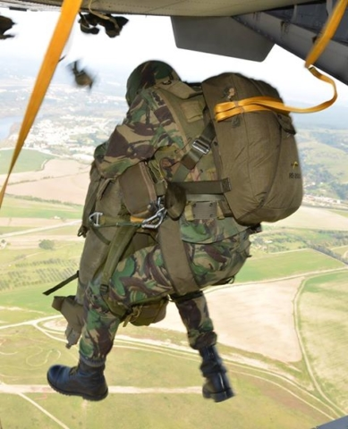 Jumping out of the plane fully equipped with backpack and weapon