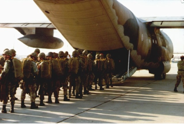 Boarding the Hercules C130